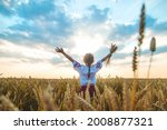 Child in a wheat field. In vyshyvanka, the concept of the Independence Day of Ukraine. Selective focus. Kid.