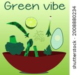 a set of green vegetables in... | Shutterstock .eps vector #2008880234