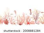 underwater wildlife  watercolor ... | Shutterstock . vector #2008881284
