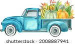 Watercolor Retro Truck With...