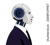 Cyborg. Male Robot In Black...