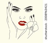 Woman Face With Flowers Logo....