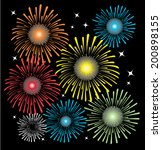 bright colored fireworks... | Shutterstock .eps vector #200898155