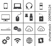 network and mobile icon set | Shutterstock .eps vector #200905124