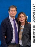 """Small photo of Bill Lawrence, Christa Miller attend Apple's """"Ted Lasso"""" Season Two Premiere at The Pacific Design Center, West Hollywood, CA on July 15, 2021"""