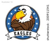eagle mascot with stars and...