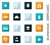 square summer button and icon... | Shutterstock .eps vector #200911601