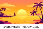 colorful sunset on the tropical ...   Shutterstock .eps vector #2009242637