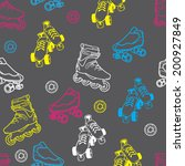 roller skate seamless pattern | Shutterstock .eps vector #200927849