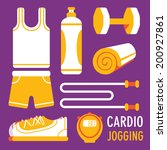 jogging related object flat...