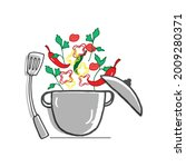 cooking vegetable with pot and...   Shutterstock .eps vector #2009280371