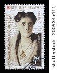 Small photo of ZAGREB, CROATIA - SEPTEMBER 03, 2014: A stamp printed in Croatia shows Ivana Brlic Mazuranic (1874-1938), Series Europa (C.E.P.T.) 1996 - Famous Women, circa 1996