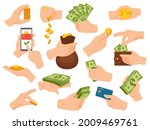hands hold cash. human arm give ... | Shutterstock .eps vector #2009469761