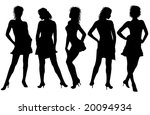 5 woman silhouettes | Shutterstock . vector #20094934