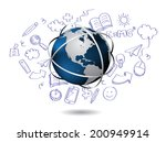 doodle with globe | Shutterstock .eps vector #200949914