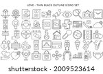love icons set in thin black...