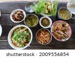 Top View Of Thai Food Various...