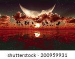 large moon over red sunset.... | Shutterstock . vector #200959931
