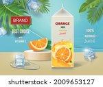 orange juice poster with ice... | Shutterstock .eps vector #2009653127