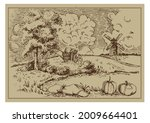 rural landscape with windmill.  ...   Shutterstock .eps vector #2009664401