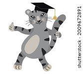 Cute Gray Cartoon Kitten In...