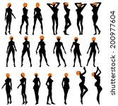 naked sexy girls silhouette set. | Shutterstock . vector #200977604