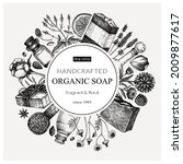organic soap wreath design in... | Shutterstock .eps vector #2009877617