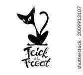 black silhouette of creepy cat... | Shutterstock .eps vector #2009913107