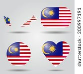 malaysia flag set in map  oval  ...   Shutterstock .eps vector #200997191