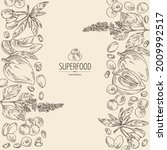 background with superfood  goji ... | Shutterstock .eps vector #2009992517