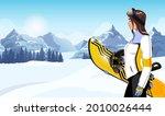 beautiful female snowboarder on ... | Shutterstock .eps vector #2010026444