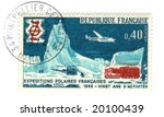 Old french stamp - Polar exploration 1968 - stock photo