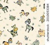 cute comical farm animals cows  ...   Shutterstock .eps vector #2010053384