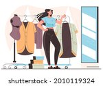 woman consumer character trying ... | Shutterstock .eps vector #2010119324