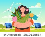 woman character holding flowers ... | Shutterstock .eps vector #2010120584
