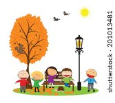 happy girls and boys and... | Shutterstock .eps vector #201013481