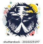 tent in mountains. travel... | Shutterstock .eps vector #2010225197