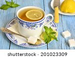 black tea with lemon and mint... | Shutterstock . vector #201023309