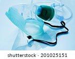 closeup of a medical oxygen mask | Shutterstock . vector #201025151