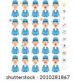 20 different facial expressions ... | Shutterstock .eps vector #2010281867