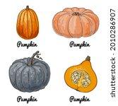 pumpkin. vector food icons of...   Shutterstock .eps vector #2010286907