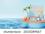 3d round podium with cute toys... | Shutterstock .eps vector #2010289067