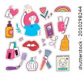 kawaii girly sticker set ... | Shutterstock .eps vector #2010298244
