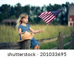 Little Girl With American Flag...