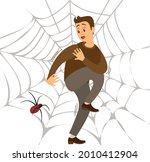 fear of spider. man frightened... | Shutterstock .eps vector #2010412904
