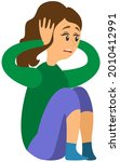 scared young woman is covering... | Shutterstock .eps vector #2010412991