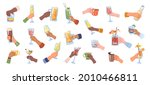 glasses and cups with alcohol... | Shutterstock .eps vector #2010466811