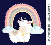 a cute llama with a rainbow... | Shutterstock .eps vector #2010520964