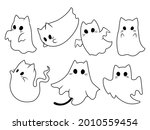 set of cute ghost cats.... | Shutterstock .eps vector #2010559454