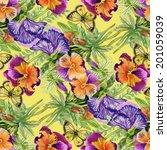 wild flowers seamless pattern... | Shutterstock .eps vector #201059039